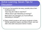 active learning seven tips for discussion