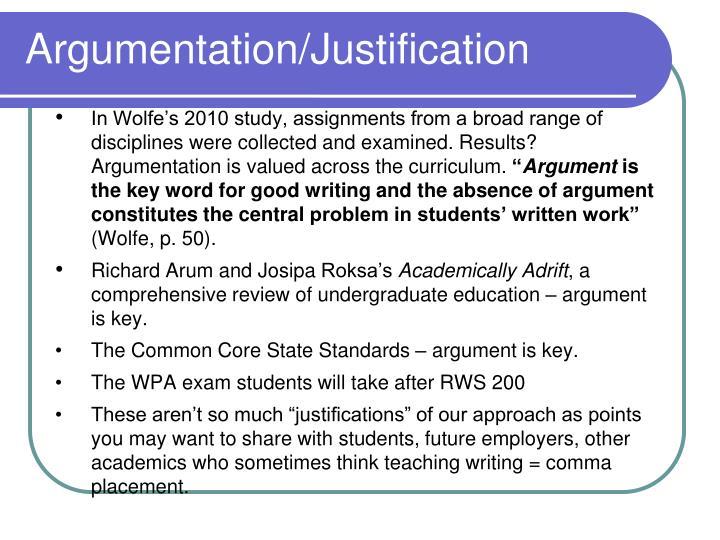 Argumentation/Justification