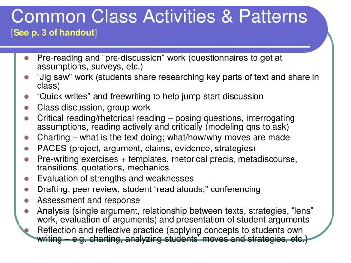 Common Class Activities & Patterns