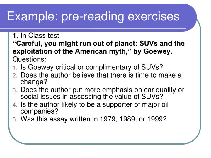Example: pre-reading exercises