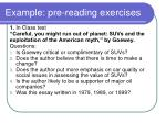 example pre reading exercises