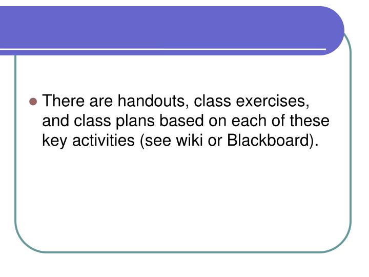 There are handouts, class exercises, and class plans based on each of these key activities (see wiki or Blackboard).