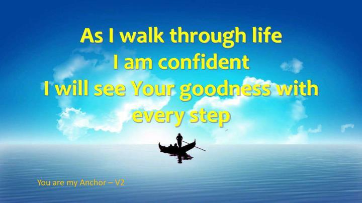 As I walk through life