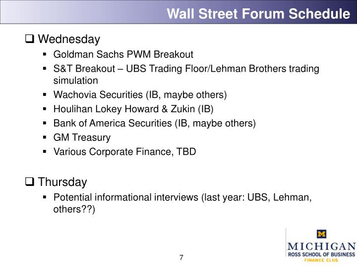 Wall Street Forum Schedule
