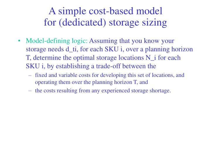 A simple cost-based model