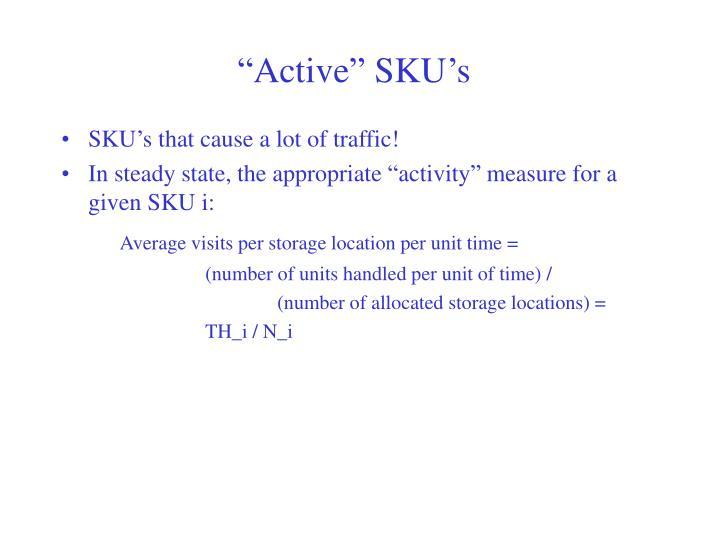 """""""Active"""" SKU's"""