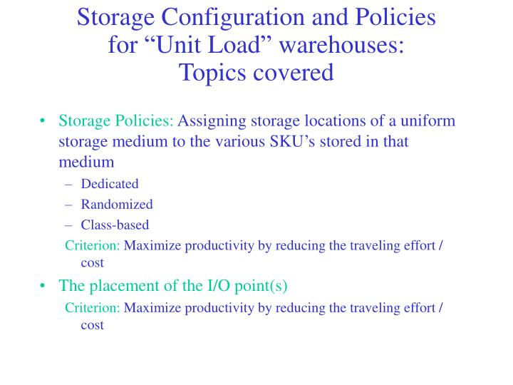 Storage Configuration and Policies