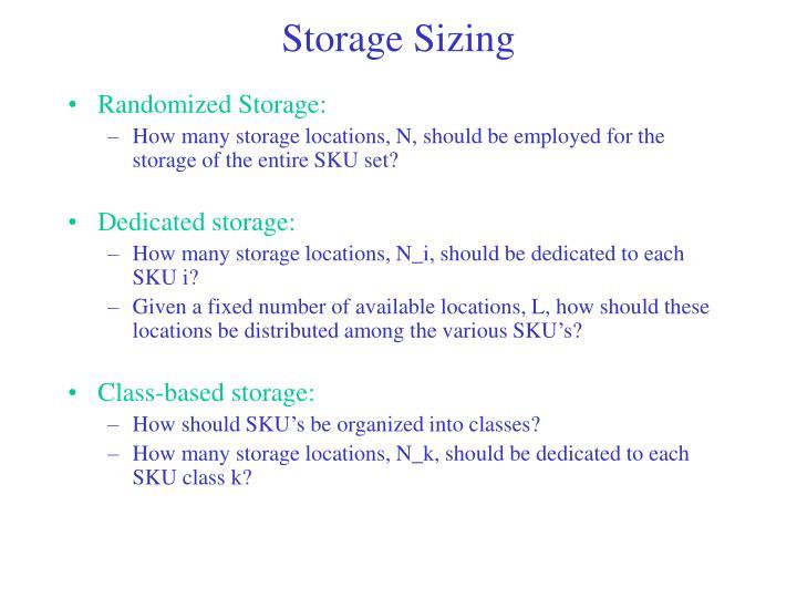 Storage Sizing