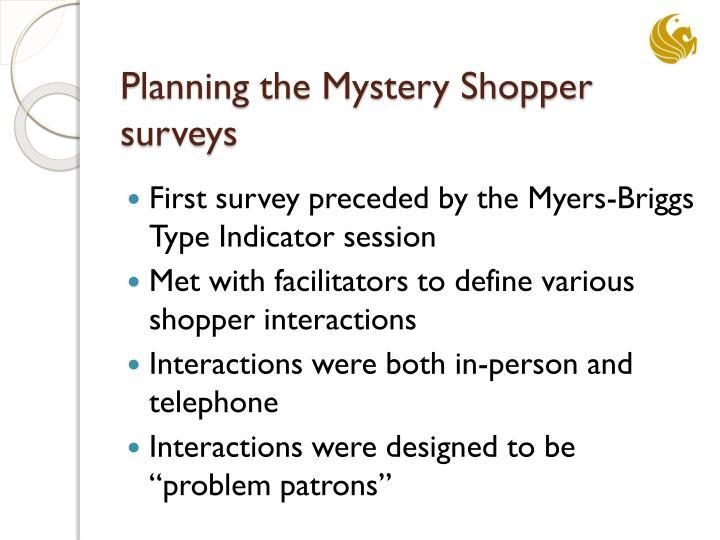 Planning the Mystery Shopper surveys