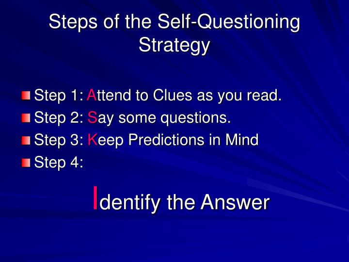 Steps of the Self-Questioning Strategy
