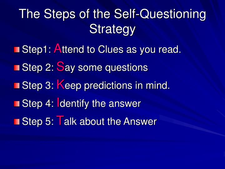 The Steps of the Self-Questioning Strategy