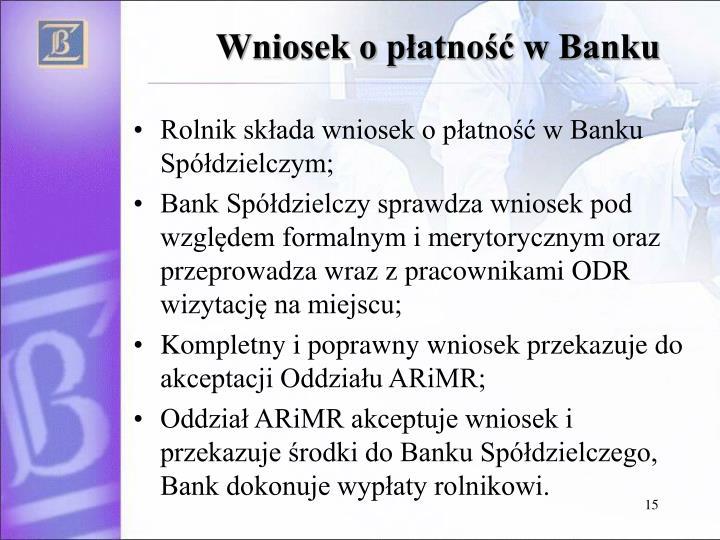 Wniosek o płatność w Banku