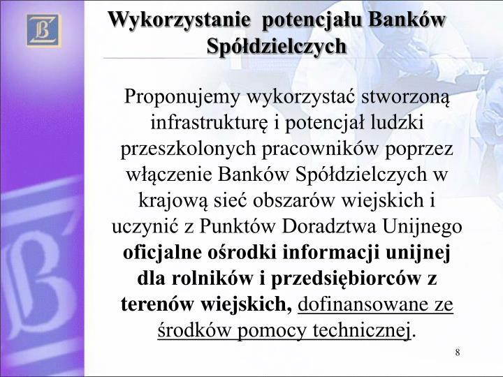 Wykorzystanie  potencjału Banków Spółdzielczych