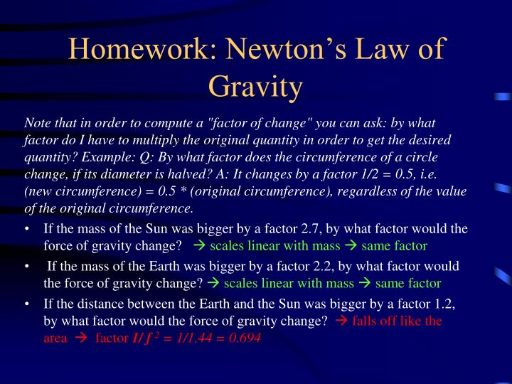 Homework: Newton's Law of Gravity