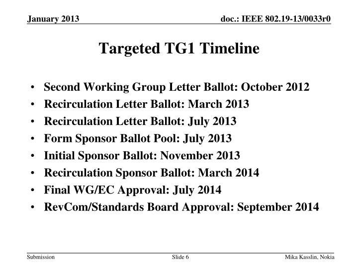 Targeted TG1 Timeline
