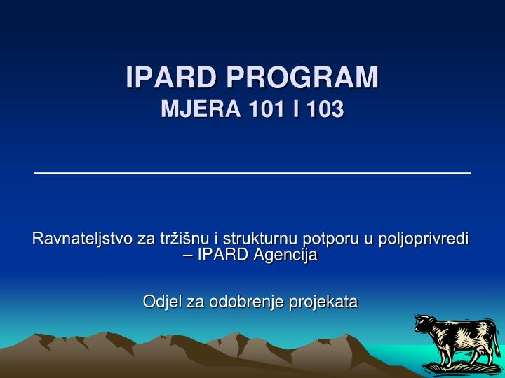ipard program mjera 101 i 103