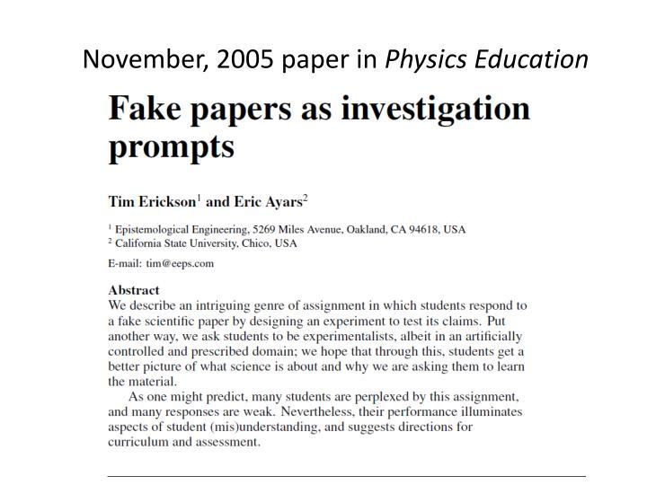 November, 2005 paper in