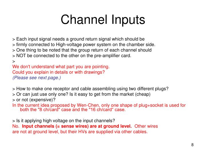 Channel Inputs