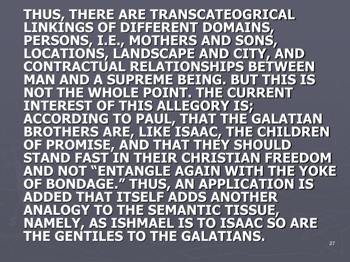 "THUS, THERE ARE TRANSCATEOGRICAL LINKINGS OF DIFFERENT DOMAINS, PERSONS, I.E., MOTHERS AND SONS, LOCATIONS, LANDSCAPE AND CITY, AND CONTRACTUAL RELATIONSHIPS BETWEEN MAN AND A SUPREME BEING. BUT THIS IS NOT THE WHOLE POINT. THE CURRENT INTEREST OF THIS ALLEGORY IS; ACCORDING TO PAUL, THAT THE GALATIAN BROTHERS ARE, LIKE ISAAC, THE CHILDREN OF PROMISE, AND THAT THEY SHOULD STAND FAST IN THEIR CHRISTIAN FREEDOM AND NOT ""ENTANGLE AGAIN WITH THE YOKE OF BONDAGE."" THUS, AN APPLICATION IS ADDED THAT ITSELF ADDS ANOTHER ANALOGY TO THE SEMANTIC TISSUE, NAMELY, AS ISHMAEL IS TO ISAAC SO ARE THE GENTILES TO THE GALATIANS."