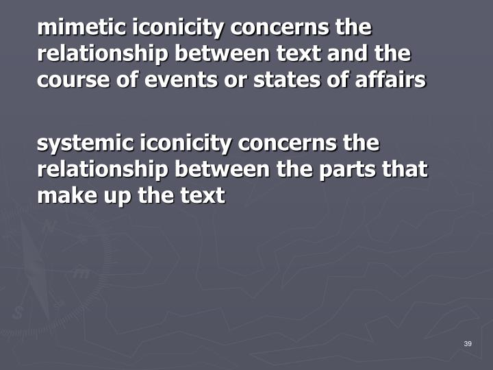 mimetic iconicity concerns the relationship between text and the course of events or states of affairs