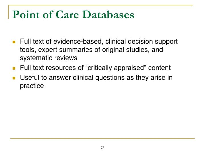 Point of Care Databases