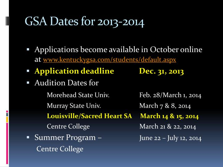 GSA Dates for 2013-2014