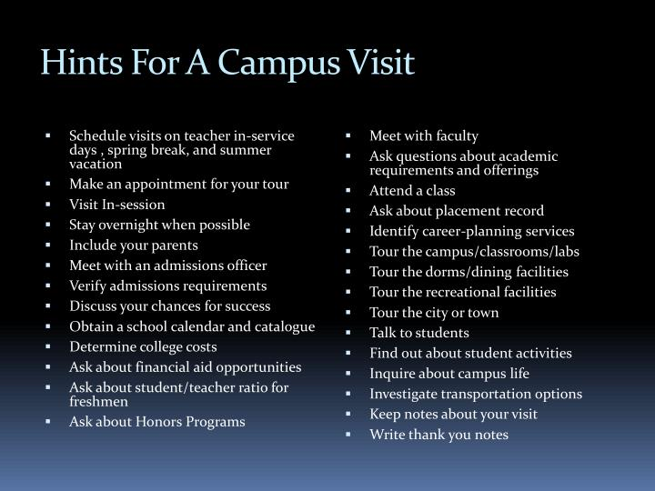 Hints For A Campus Visit