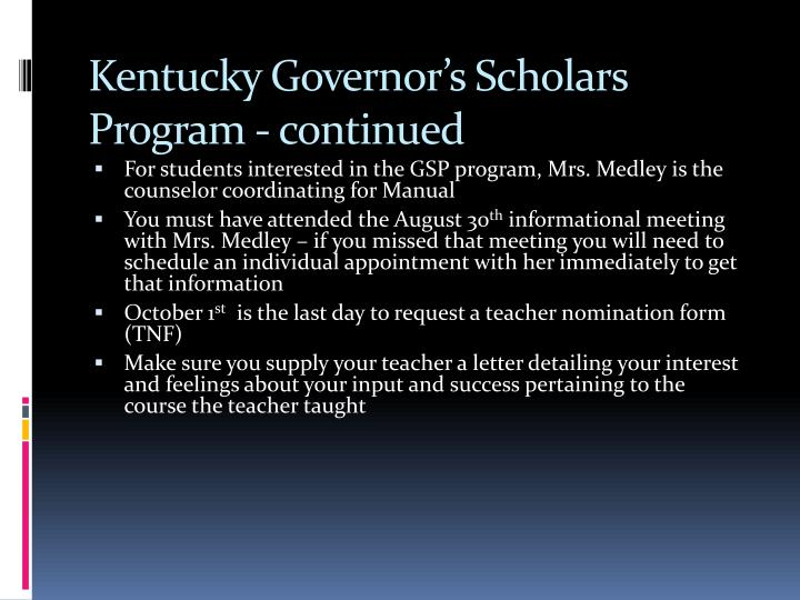 Kentucky Governor's Scholars Program - continued
