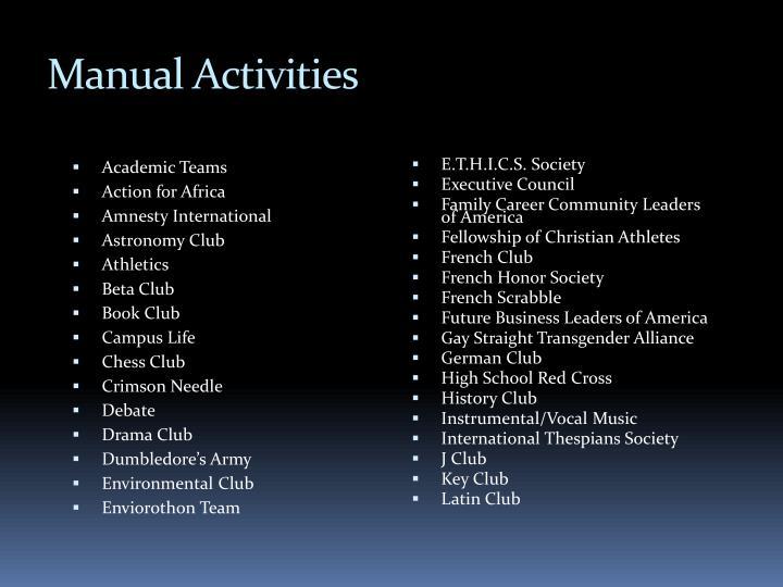 Manual Activities