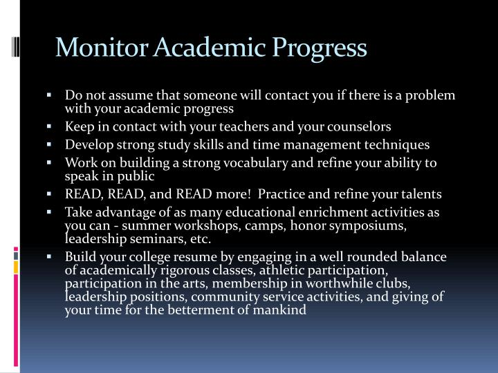 Monitor Academic Progress