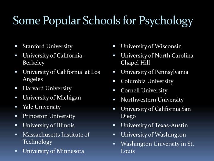 Some Popular Schools for Psychology