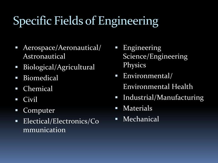 Specific Fields of Engineering