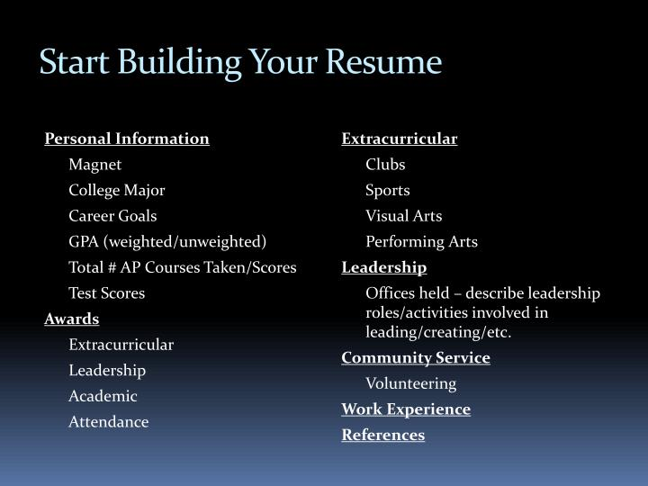 Start Building Your Resume