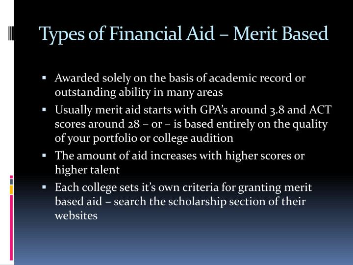 Types of Financial Aid – Merit Based