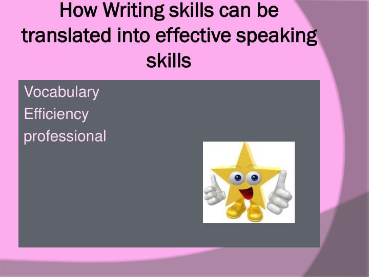 How Writing skills can be translated into effective speaking skills