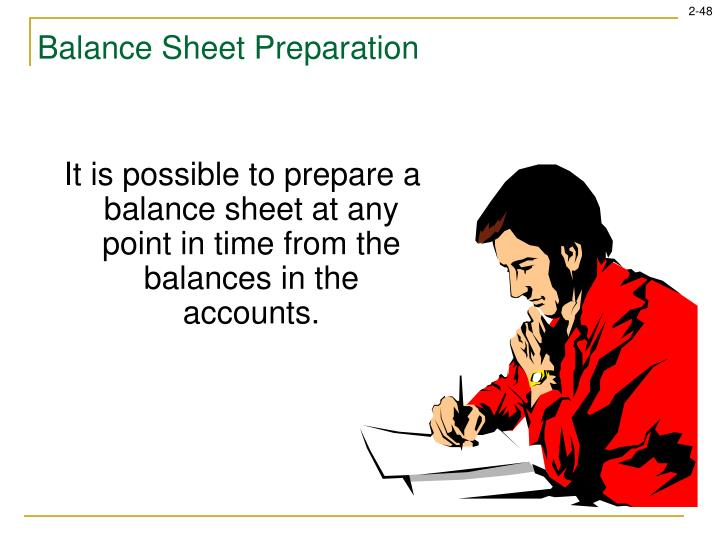 It is possible to prepare a balance sheet at any point in time from the balances in the accounts.