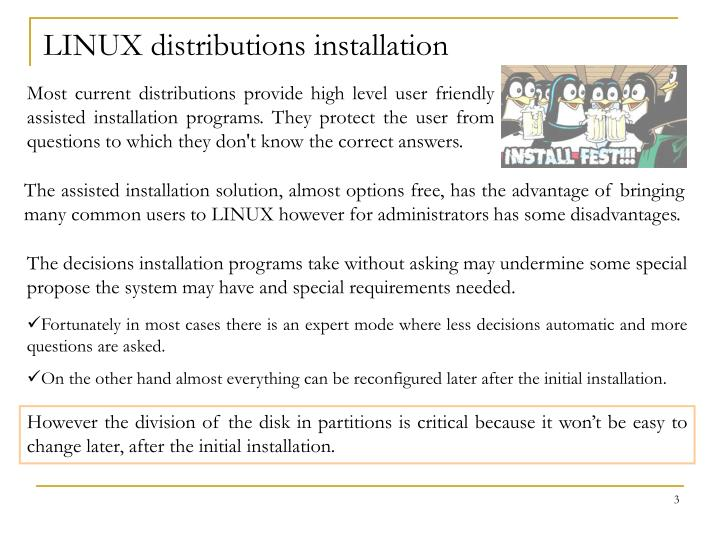 Linux distributions installation
