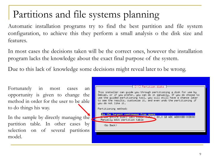 Partitions and file systems planning