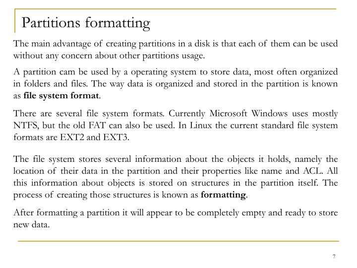 Partitions formatting