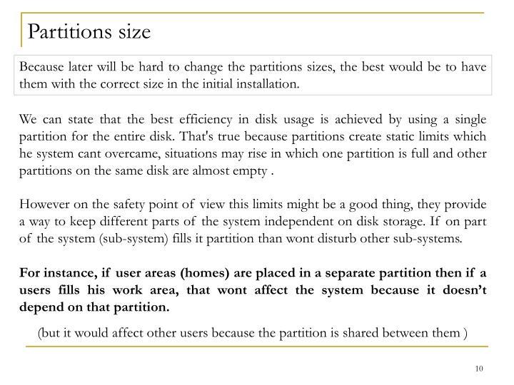Partitions size