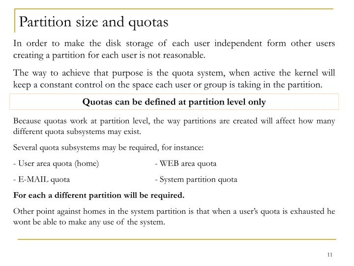 Partition size and quotas