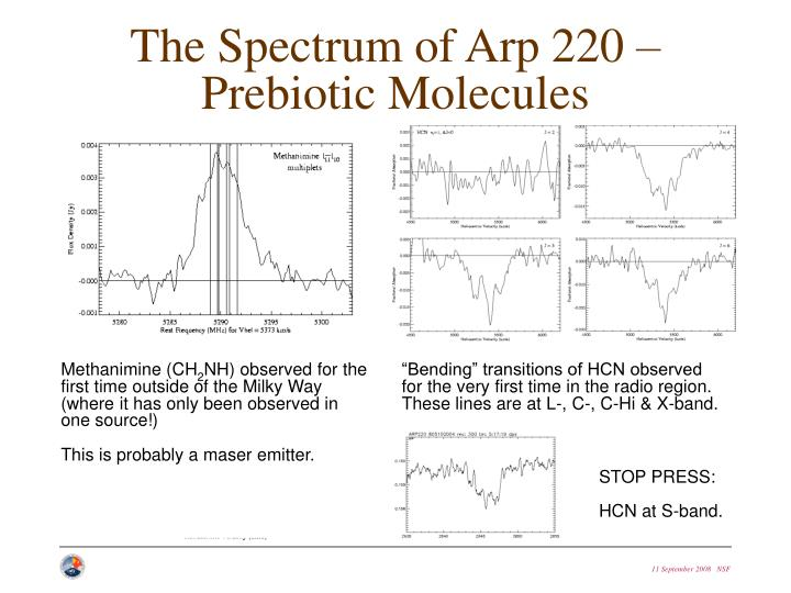 The Spectrum of Arp 220 – Prebiotic Molecules