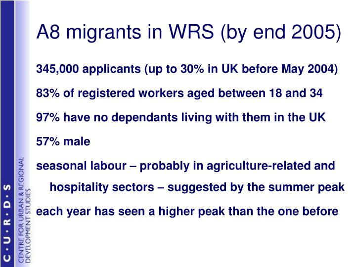 A8 migrants in WRS (by end 2005)
