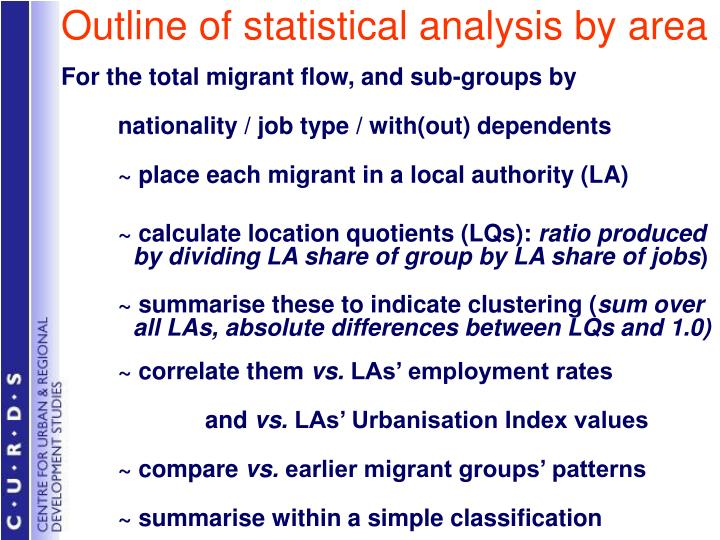 Outline of statistical analysis by area