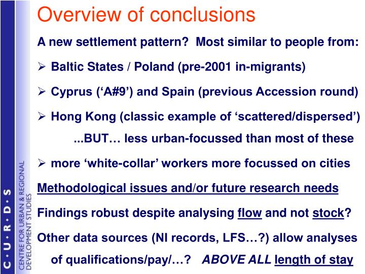 Overview of conclusions