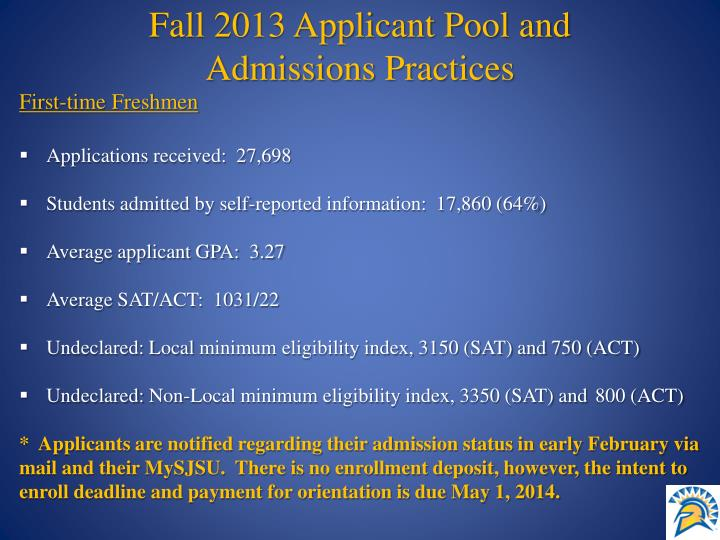 Fall 2013 Applicant Pool and