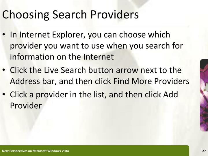 Choosing Search Providers