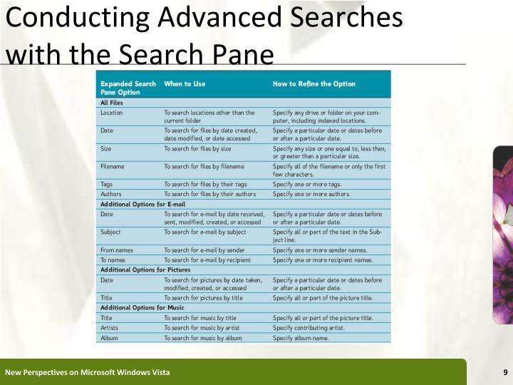 Conducting Advanced Searches with the Search Pane