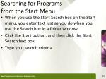 searching for programs from the start menu