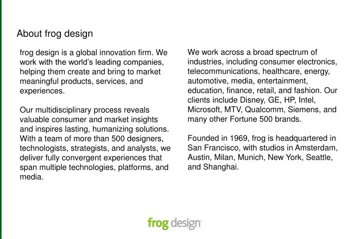 About frog design